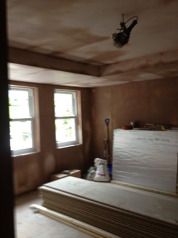 double-garage-conversion-to-new-front-bedroom-with-ensuite-shower-chislehurst-plastered